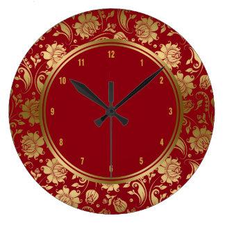 バーガンディ及び金ゴールドのヴィンテージの花柄のダマスク織 ラージ壁時計