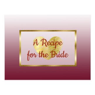 バーガンディ及び金ゴールドの勾配の結婚式のレシピカード ポストカード