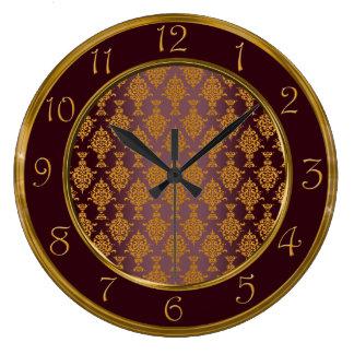 バーガンディ数のダマスク織の金ゴールド ラージ壁時計