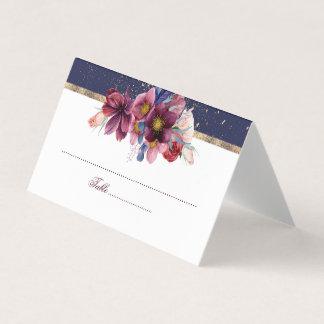 バーガンディ海軍および金ゴールドの花の結婚式 プレイスカード
