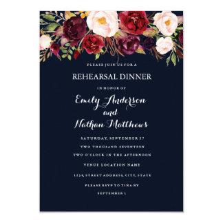 バーガンディ海軍花の秋のリハーサルの夕食カード カード