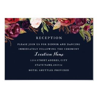 バーガンディ海軍花の秋の結婚式の披露宴カード カード
