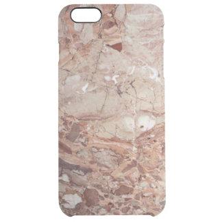 バーガンディ深紅色のStoneyの小石の大理石の終わり クリア iPhone 6 Plusケース