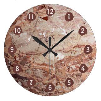 バーガンディ深紅色のStoneyの小石の大理石の終わり ラージ壁時計