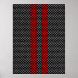 バーガンディ競争のような赤いカーボン繊維は縞で飾ります ポスター