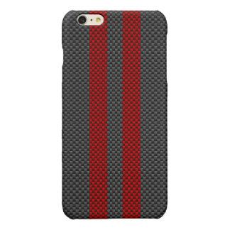 バーガンディ赤いカーボン繊維のスタイルの競争は縞で飾ります 光沢iPhone 6 PLUSケース