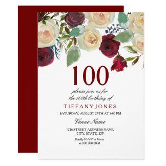 バーガンディ赤いシャンペンの白いバラの100th誕生日 カード