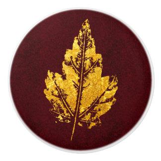 バーガンディ-キャビネットのノブの金葉 セラミックノブ