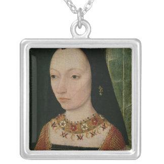 バーガンディ、c.1477のヨークの公爵夫人のマルグレット シルバープレートネックレス