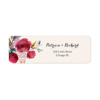 バーガンディMarsalaのエレガントな花の結婚式 ラベル
