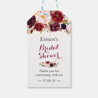 バーガンディMarsalaの花のシックなブライダルシャワーの好意 ギフトタグ