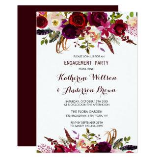 バーガンディMarsalaの花の秋の婚約パーティ カード