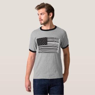 バーコードのスカルの米国旗 Tシャツ