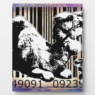 バーコードの芸術のデザインのベクトルおもしろい色 フォトプラーク