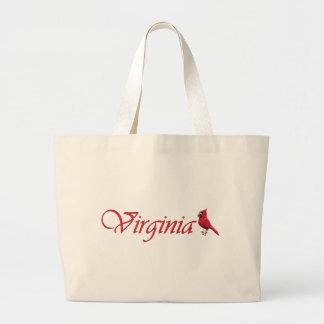 バージニア人の(鳥)ショウジョウコウカンチョウ ラージトートバッグ