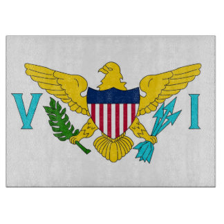 バージン諸島の旗を持つガラスまな板 カッティングボード