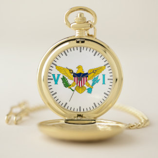 バージン諸島、米国の愛国心が強い壊中時計の旗 ポケットウォッチ
