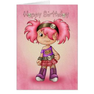 バースデー・カードのモダンなパンクの女の子-かわいく10代のなBirthda カード