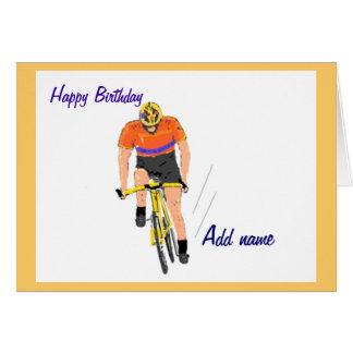 バースデー・カードを競争させているサイクリスト。 名前を変えて下さい カード