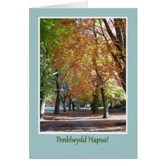 バースデー・カード、秋の木、ウェールズの挨拶 カード