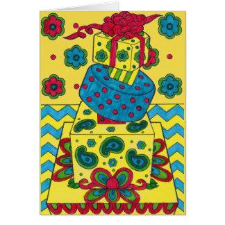 バースデー・カード-黄色いギフト カード