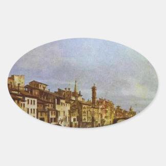 バーナードBellotto著フィレンツェのアルノ 楕円形シール