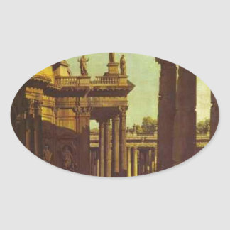 バーナードBellotto著寺院の台なし 楕円形シール