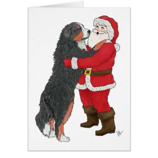バーニーズ・マウンテン・ドッグのクリスマスの挨拶 カード