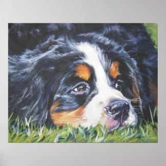 バーニーズ・マウンテン・ドッグの子犬の芸術のプリント ポスター
