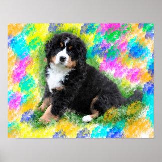 バーニーズ・マウンテン・ドッグの水彩画の芸術の絵画 ポスター