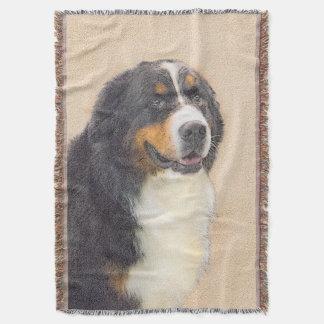 バーニーズ・マウンテン・ドッグ2の絵画-元の犬の芸術 スローブランケット