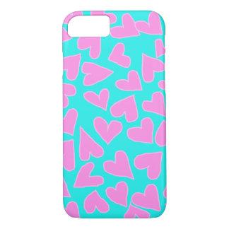 バービーのピンクのハートのiPHONE 7/8の場合を持つティール(緑がかった色) iPhone 8/7ケース