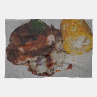 バーベキューの鶏およびトウモロコシ キッチンタオル