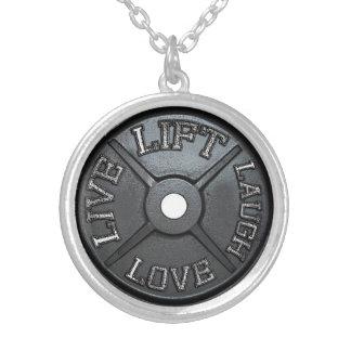 バーベルのプレート-、の愛、笑い生きている持ち上げて下さい シルバープレートネックレス