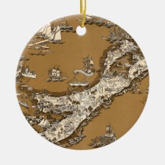 バーミューダ諸島のセピア色の調子のヴィンテージの古い地図 セラミックオーナメント