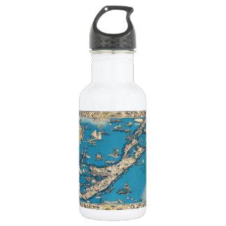 バーミューダ諸島のヴィンテージの古い地図 ウォーターボトル