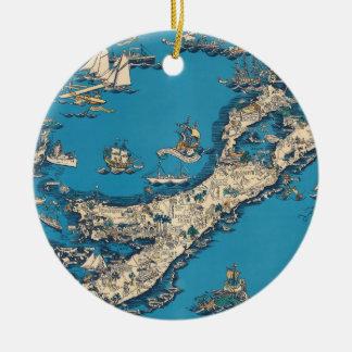 バーミューダ諸島のヴィンテージの古い地図 セラミックオーナメント