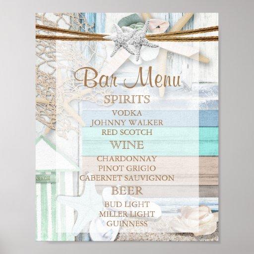 バーメニュー-海辺の結婚式 ポスター