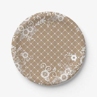 バーラップおよびレースのぼろぼろのシックな紙皿 ペーパープレート