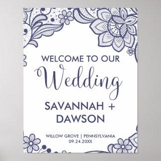 バーラップおよび海軍レース|の花の結婚式の歓迎 ポスター