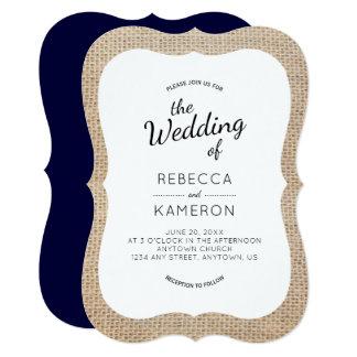 バーラップおよび濃紺ブラケットフレームの結婚式の招待 12.7 X 17.8 インビテーションカード