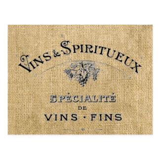 バーラップのフランスワイン ポストカード
