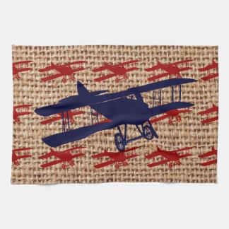 バーラップのプリントのヴィンテージの複葉機のプロペラの飛行機 キッチンタオル