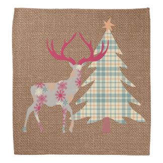 バーラップの効果のBohoの雄鹿およびクリスマスツリー バンダナ