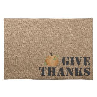 バーラップの感謝祭の生地のランチョンマットは感謝を与えます ランチョンマット