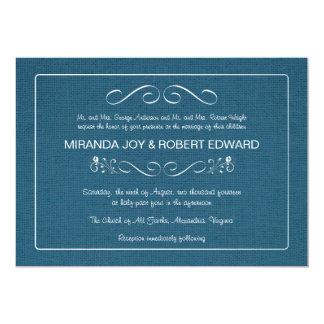 バーラップの素朴なデニムの青の結婚式招待状 カード