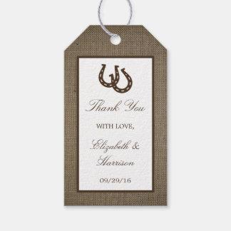 バーラップの結婚式の国の素朴な蹄鉄 ギフトタグパック