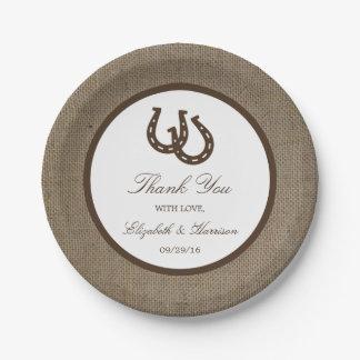 バーラップの結婚式の国の素朴な蹄鉄 紙皿 小