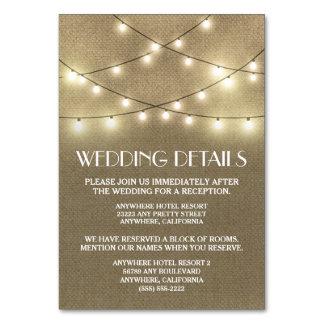 バーラップの結婚披露宴の調節カード