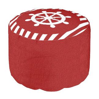 バーラップの航海のなデザイン-縞で飾りますえんじ色 プーフ